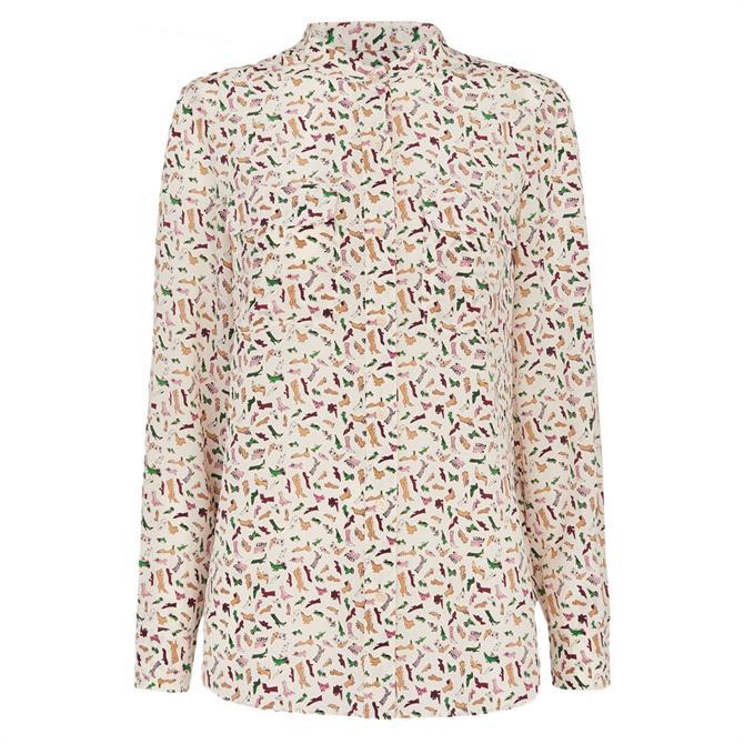 Whistles Shoe Print Silk Shirt