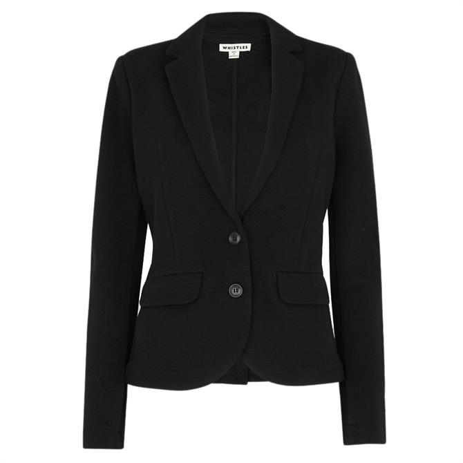 Whistles Black Slim Soft Cotton Jersey Jacket