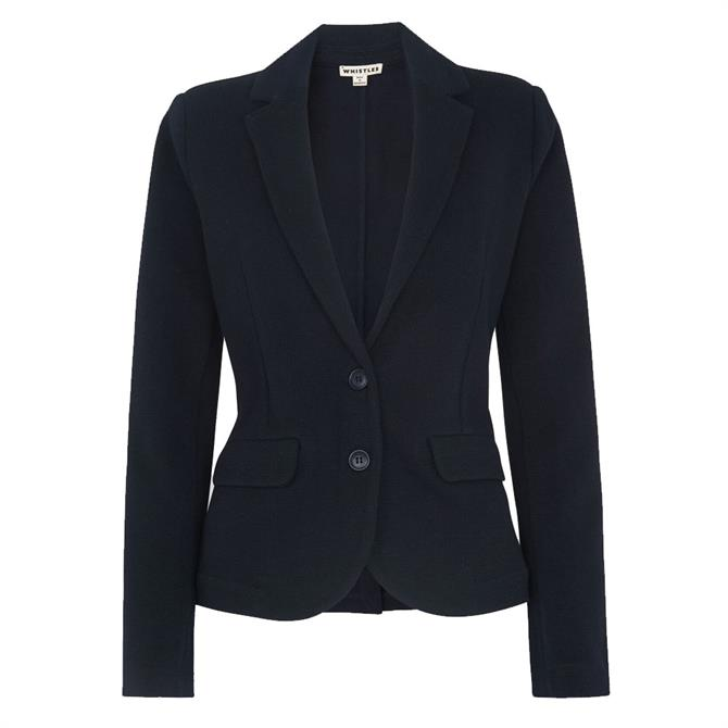 Whistles Navy Slim Fit Cotton Jersey Jacket