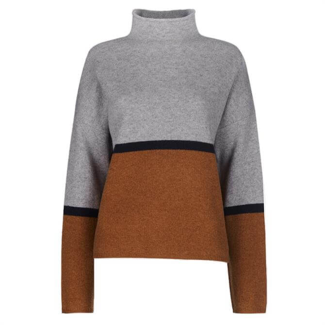 Whistles Soft Roll Neck Colour Block Sweater