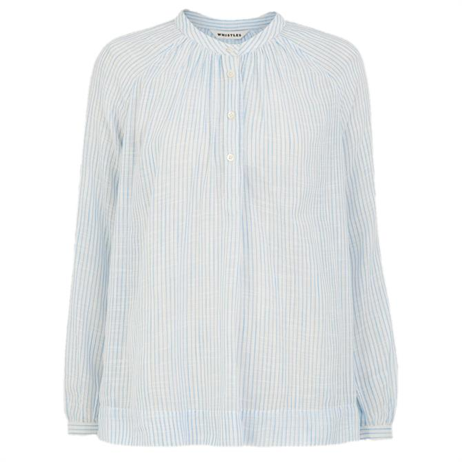 Whistles Multi Stripe Cotton Voile Blouse
