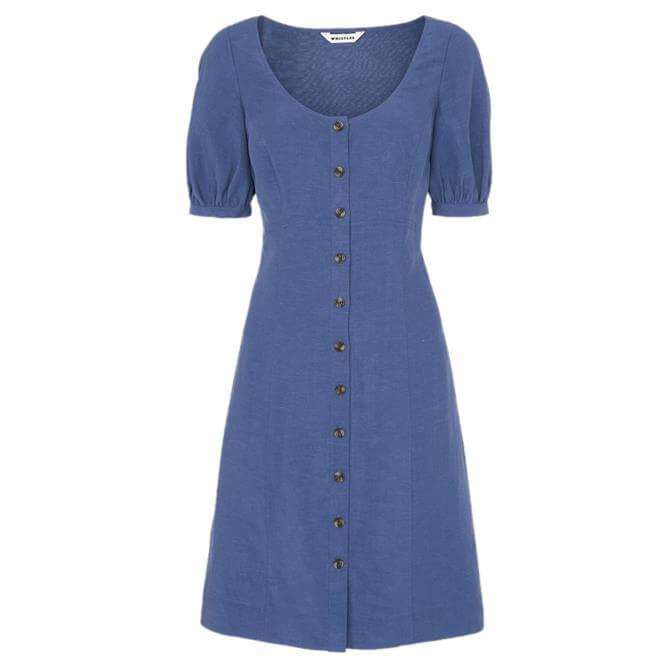 Whistles Tara Scoop Linen Mix Dress