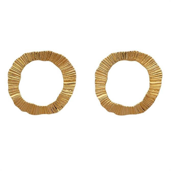 Whistles Textured Irregular Gold Plated Earrings