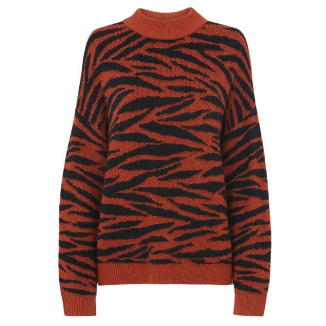 Whistles Tiger Stripe Intarsia Knit