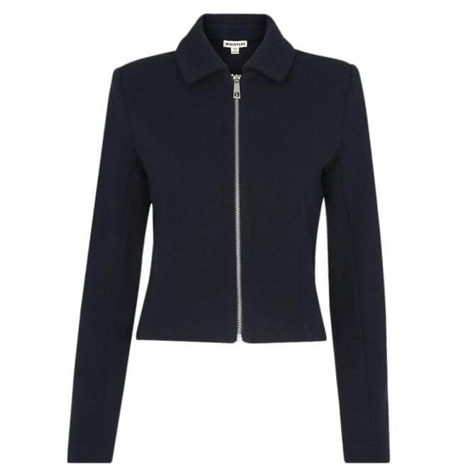 Whistles Navy Zip Front Jersey Jacket