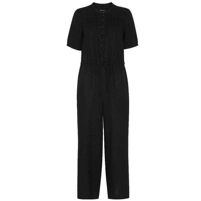 Whistles Black Sustainable Button Front Linen Jumpsuit