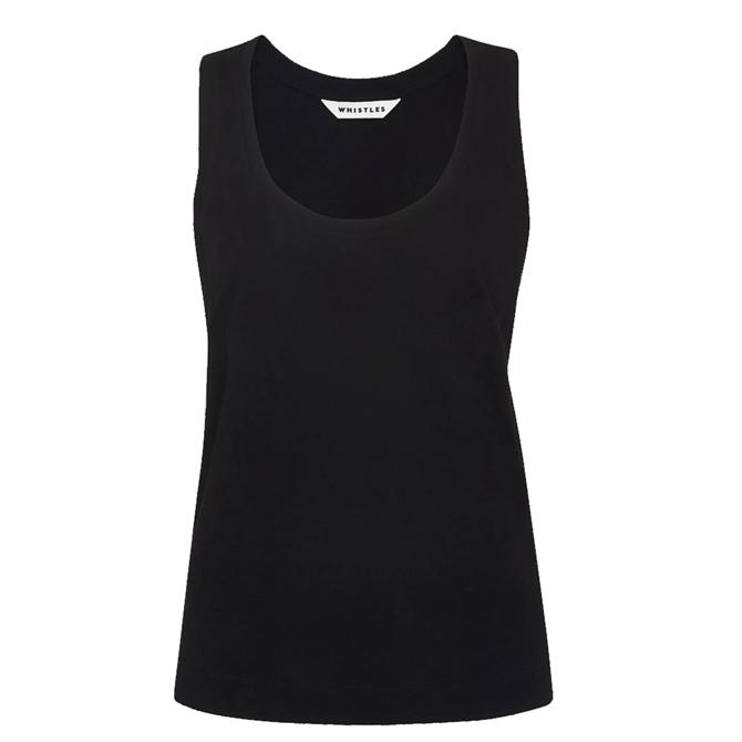 Whistles Black Easy Basic Vest Top