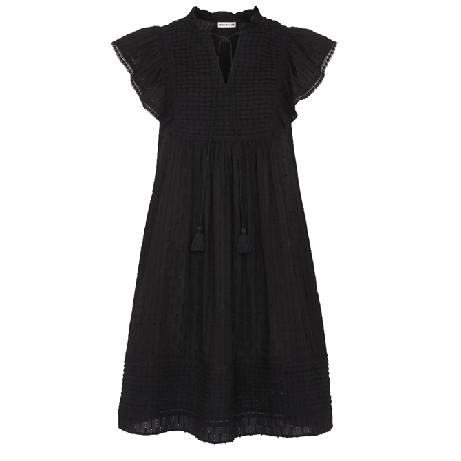 Whistles Black Pintuck Frill Cotton Dress