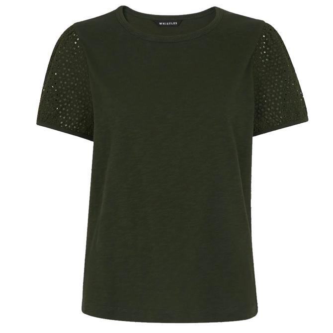 Whistles Khaki Broderie Puff Sleeve T-Shirt