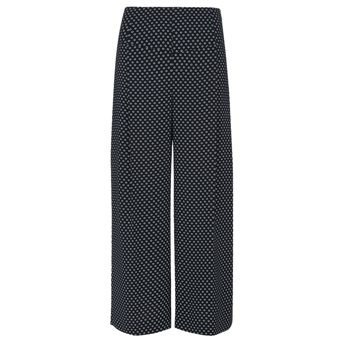 Whistles Navy Circle Spot Crepe Trousers