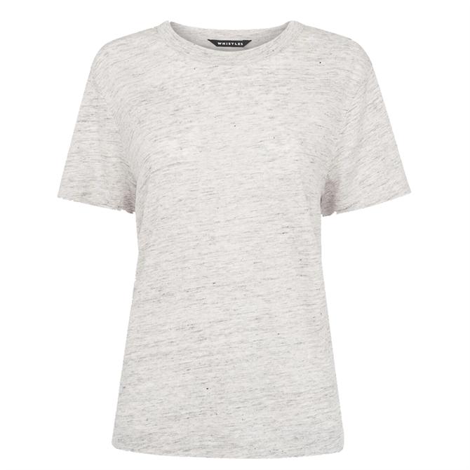 Whistles Grey Ultimate Linen T-Shirt