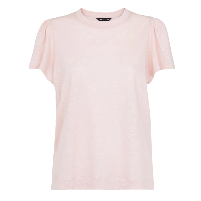 Whistles Pale Pink Linen Sleeve Detail Tee