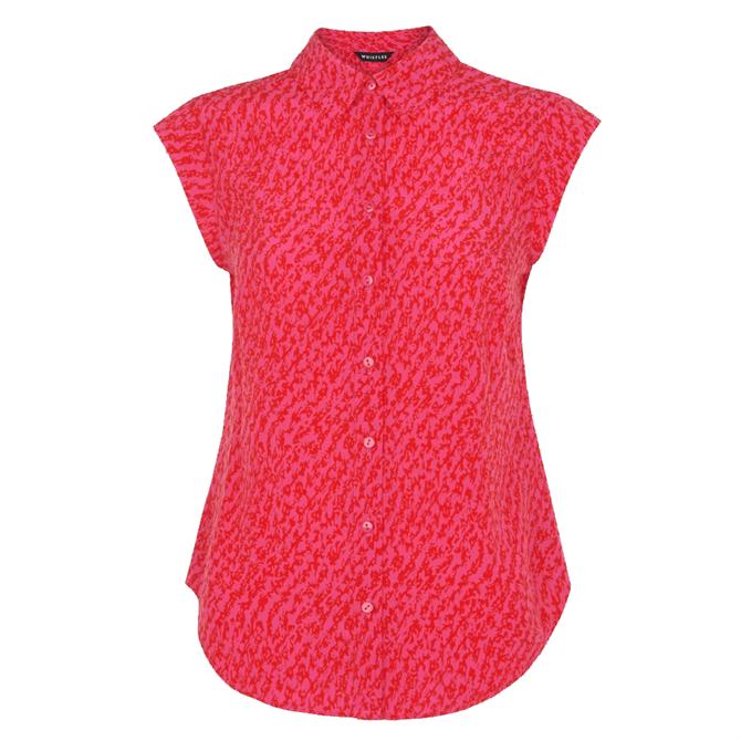 Whistles Red Sustainable Diagonal Sleeveless Shirt