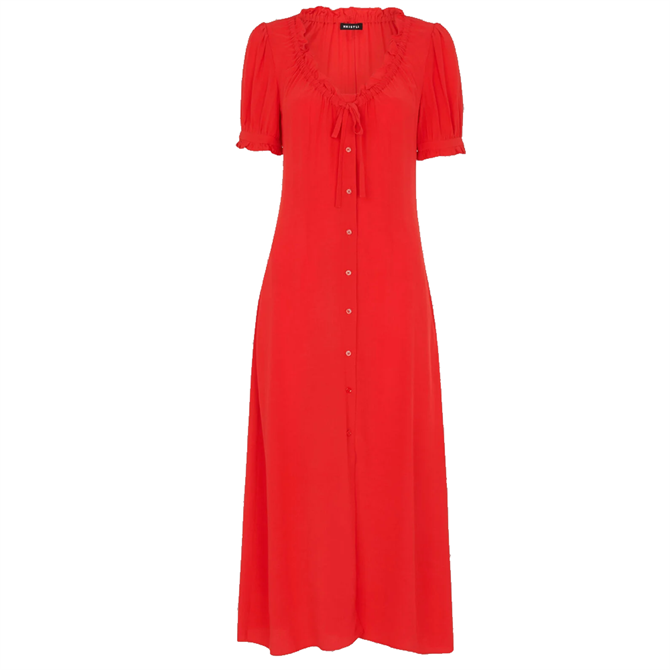 Whistles Red Ada Ruched Detail Midi Dress