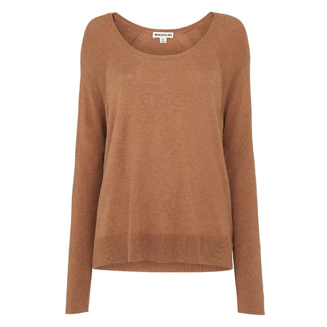 Whistles Scoop Neck Silk Mix Knit Jumper