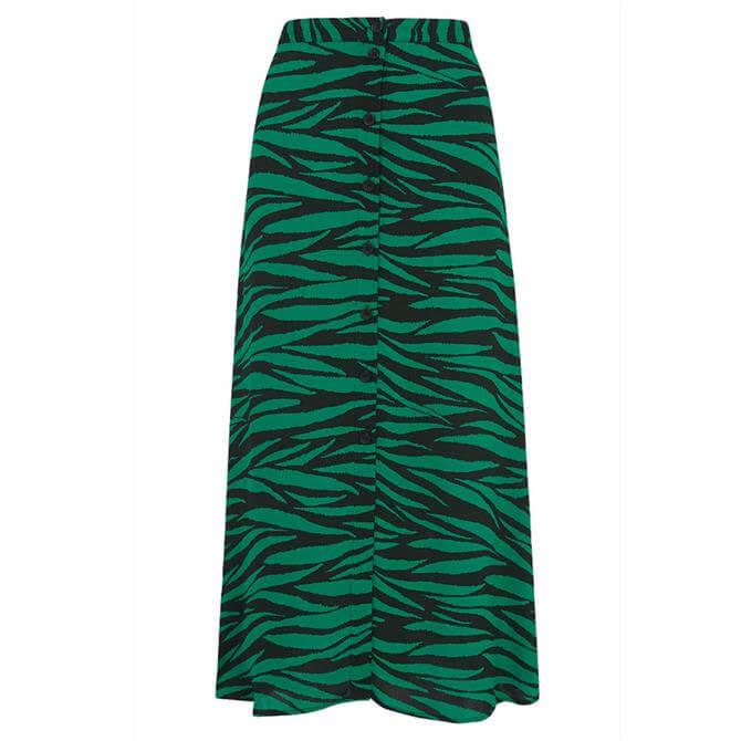 Whistles Tiger Print Button Front Midi Skirt