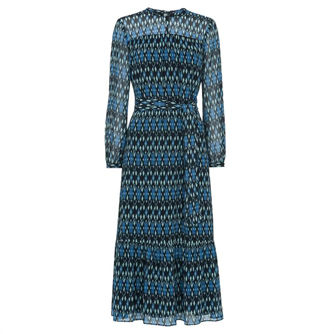 Whistles Ikat Diamond Trapeze Dress with Sustainable Polyester