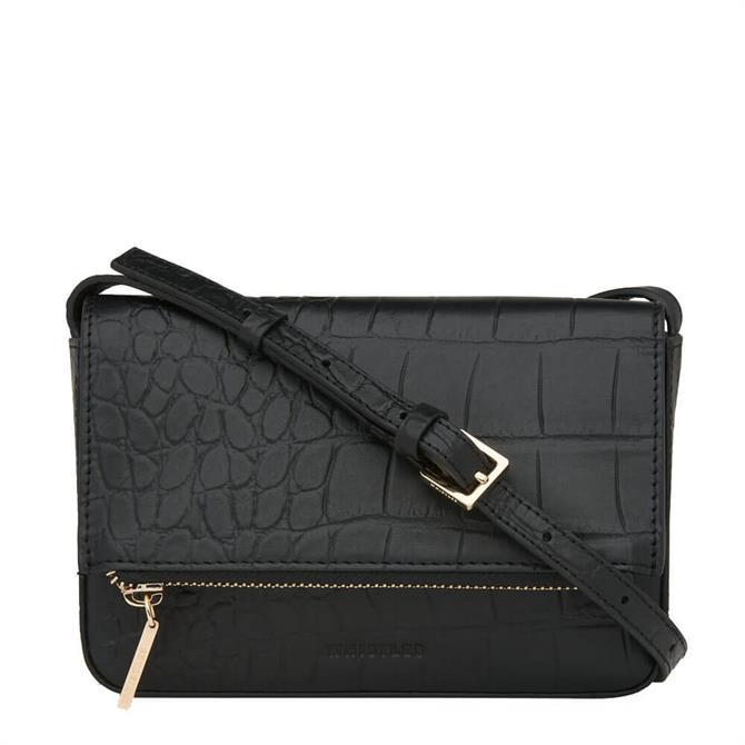 Whistles Luca Black Leather Croc Fold Over Bag
