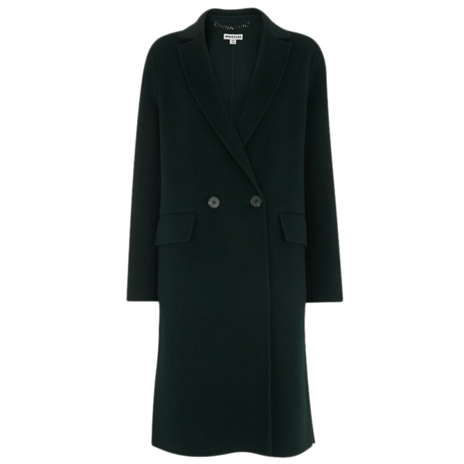 Whistles Dark Green Double Faced Wool Coat