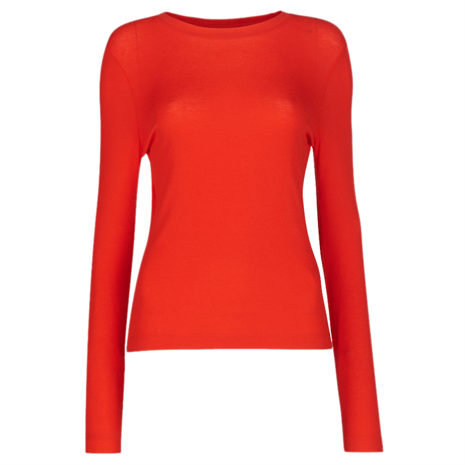 Whistles Red Essential Crew Neck Top