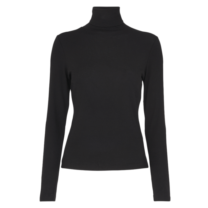 Whistles Black Essential Polo Neck Top
