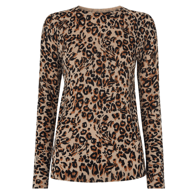 Whistles Leopard Print Crew Neck Knit Jumper