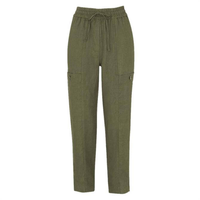 Whistles Khaki Linen Cargo Trouser