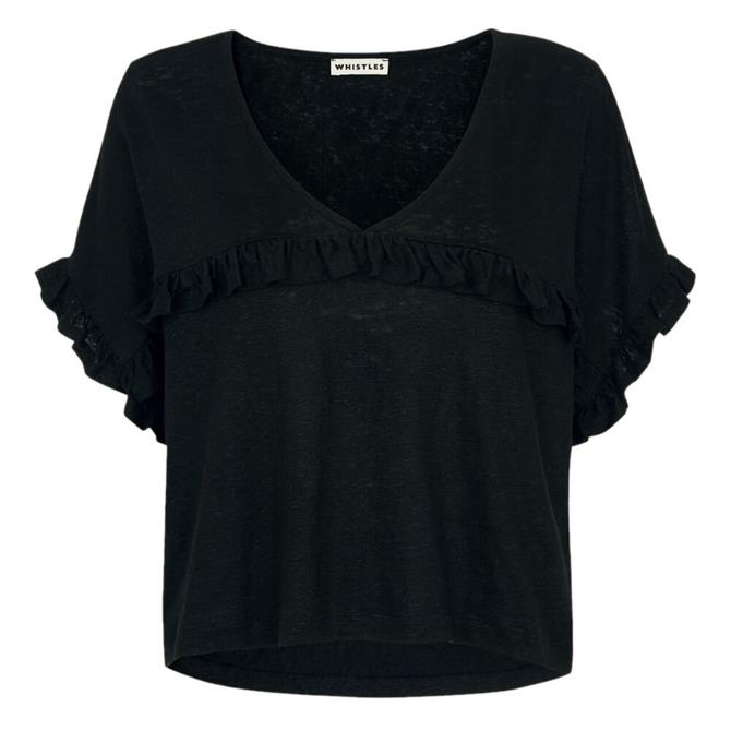 Whistles Black Linen Frill Top