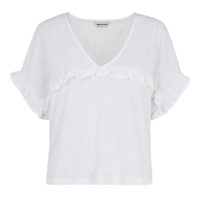 Whistles White Linen Frill Top