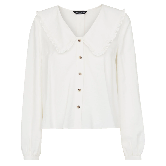 Whistles White Sustainable Oversized Collar Detail Top