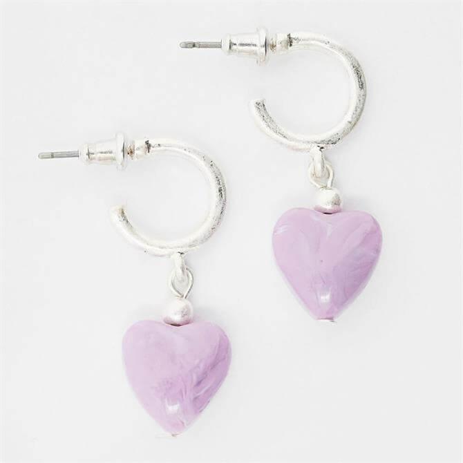 White Stuff Ceramic Heart Earrings