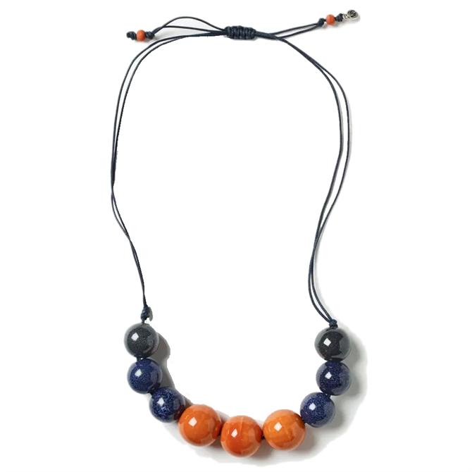 White Stuff Ceramic & Cord Necklace
