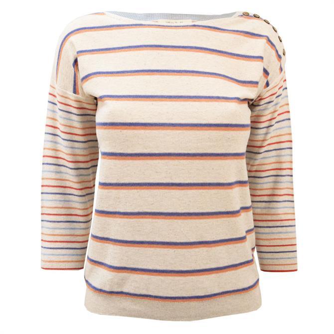 White Stuff Philo Striped 3/4 Sleeve Sweater