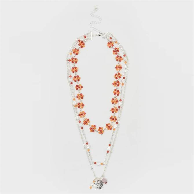 White Stuff Layered Floral Bead Necklace