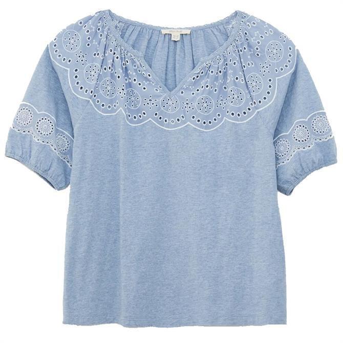 White Stuff Kerry Embroiderie Anglaise Puff Sleeve Top