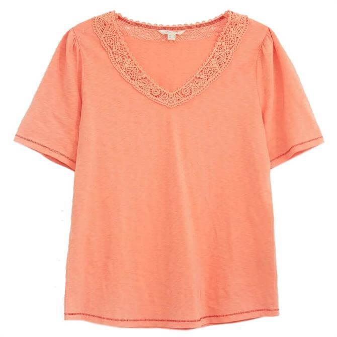 White Stuff Lily Lace V Neck T-Shirt