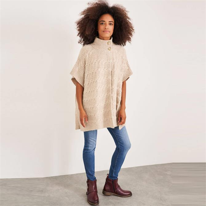 White Stuff Maple Cable Knit Poncho