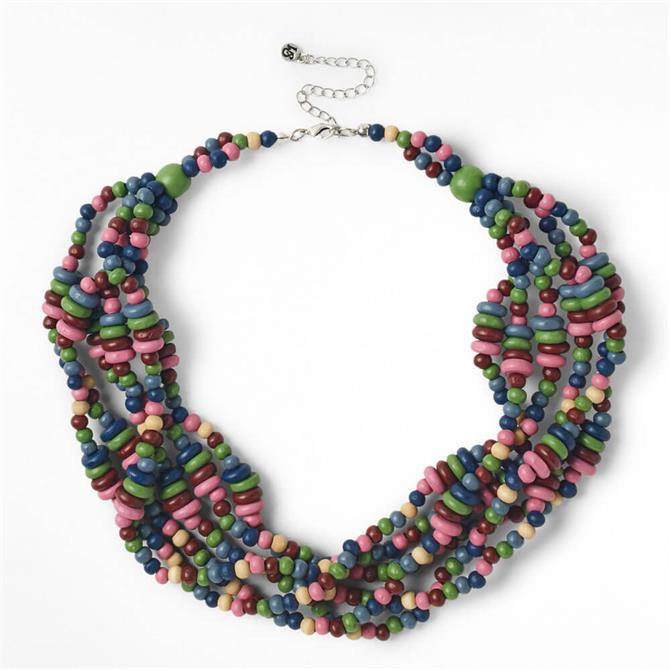 White Stuff Multi Plaited Bead Necklace