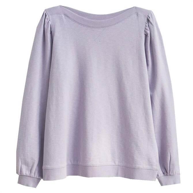 White Stuff Puff Sleeve Mid Purple Sweatshirt