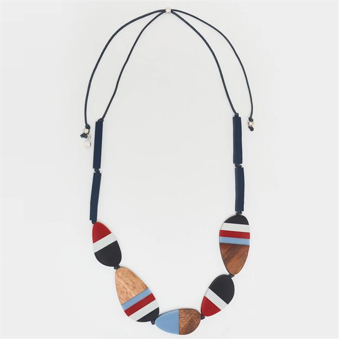 White Stuff Striped Wooden Bead Necklace
