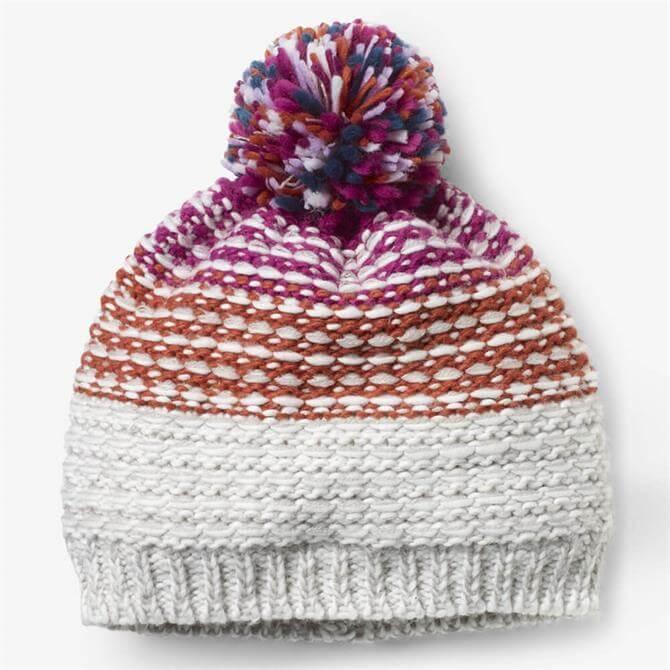 White Stuff Amelia Chunky Patterned Bobble Hat