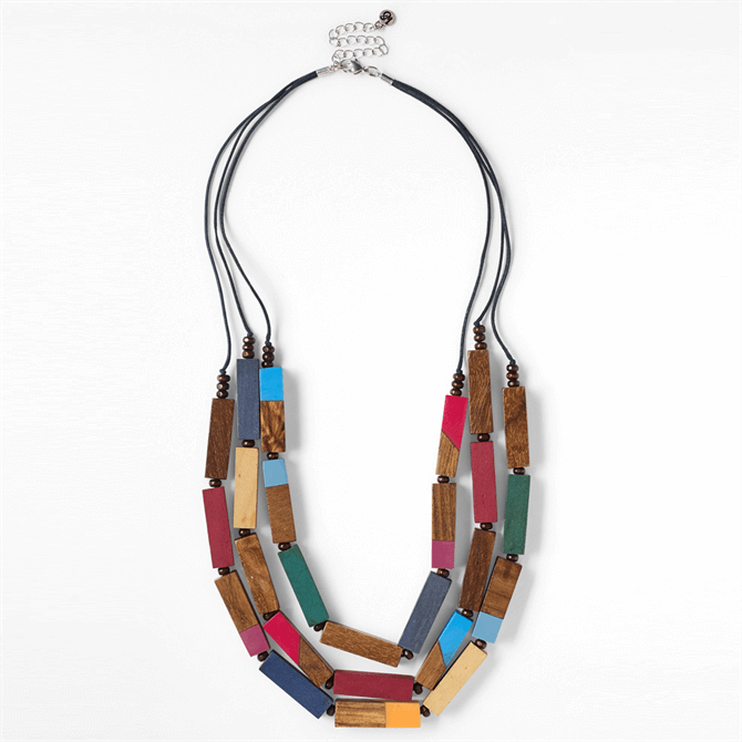 White Stuff Frida Wooden Bead Multistring Necklace