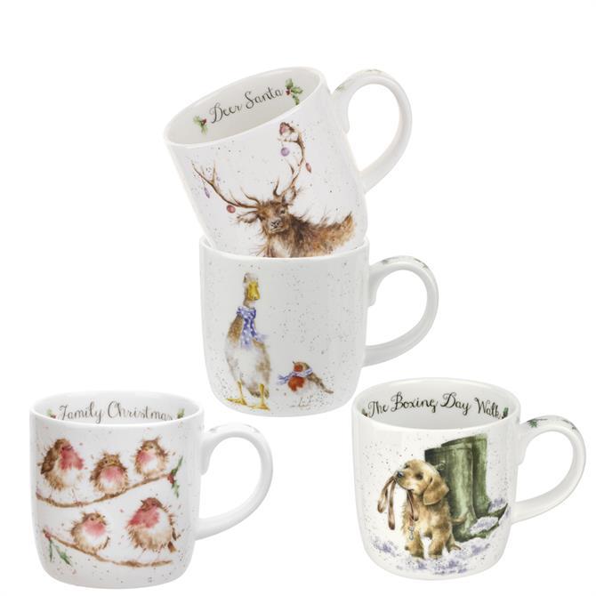 Royal Worcester Wrendale Christmas Mug Set