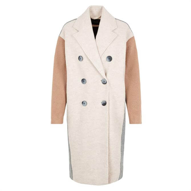 Y.A.S Triple Colour-Block Wool Blend Coat