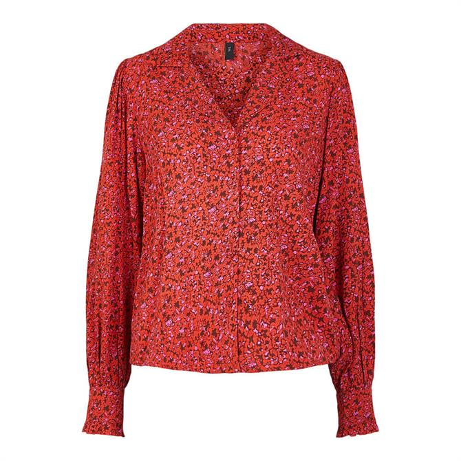 Y.A.S Dahlia Abstract Floral Gathered Sleeve Blouse