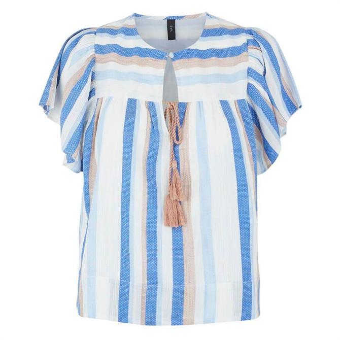 Y.A.S Fenja Striped Tassel Front Blouse
