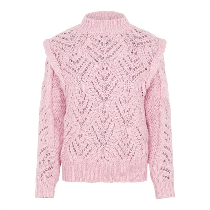 Y.A.S Sassy Open Knit High Neck Pullover