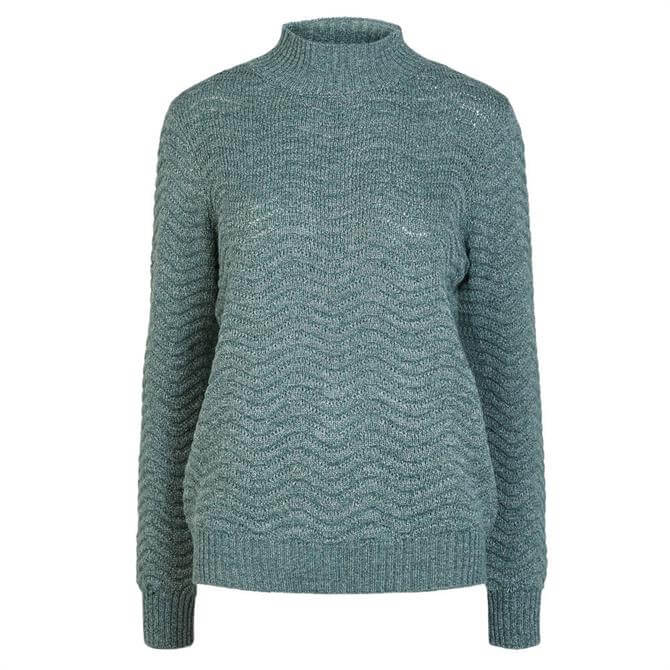 Y.A.S Betricia Wavy Textured Knit High Neck Jumper