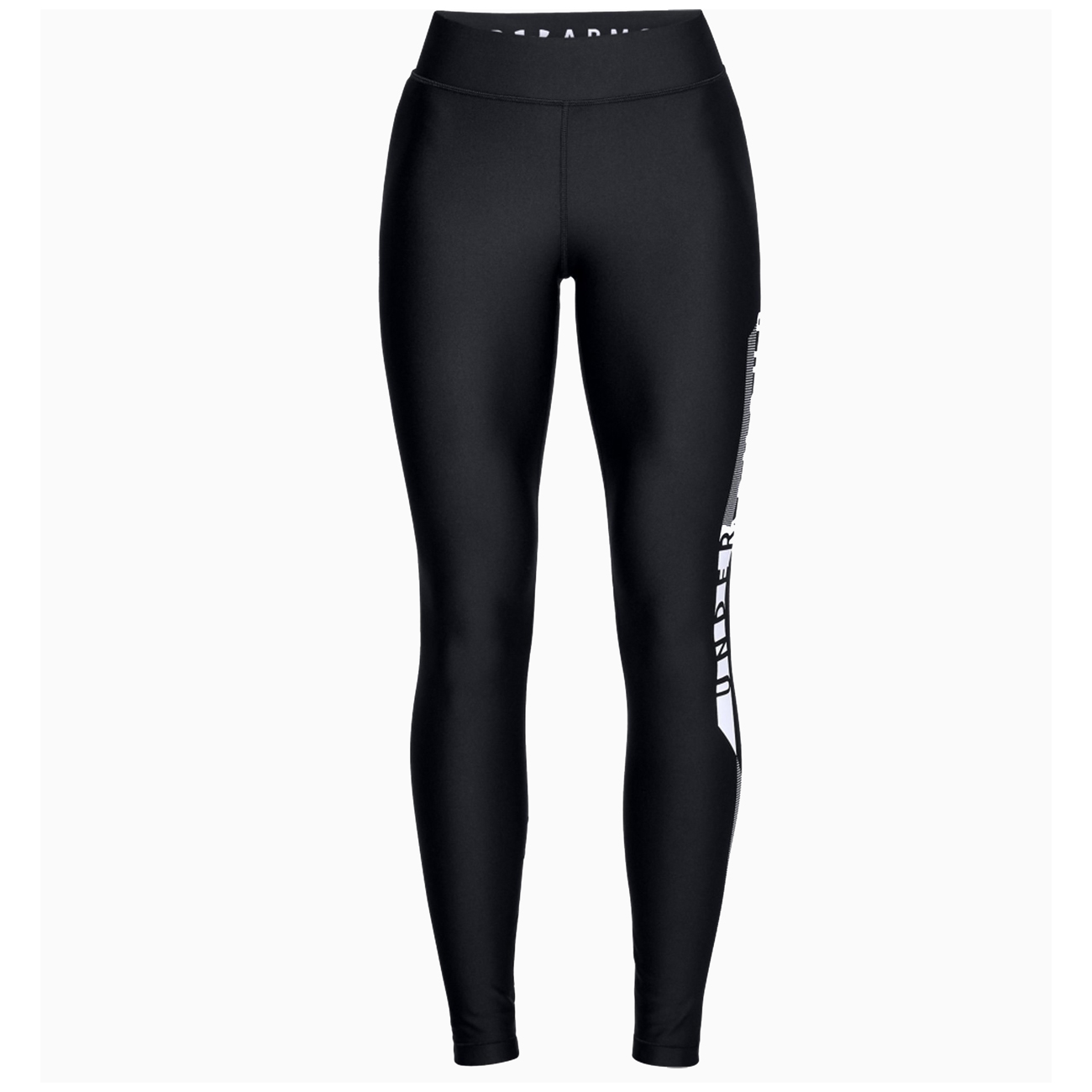 An image of Under Armour Women's HeatGear® Armour Graphic Leggings- Black/Silver - XS, BLAC...
