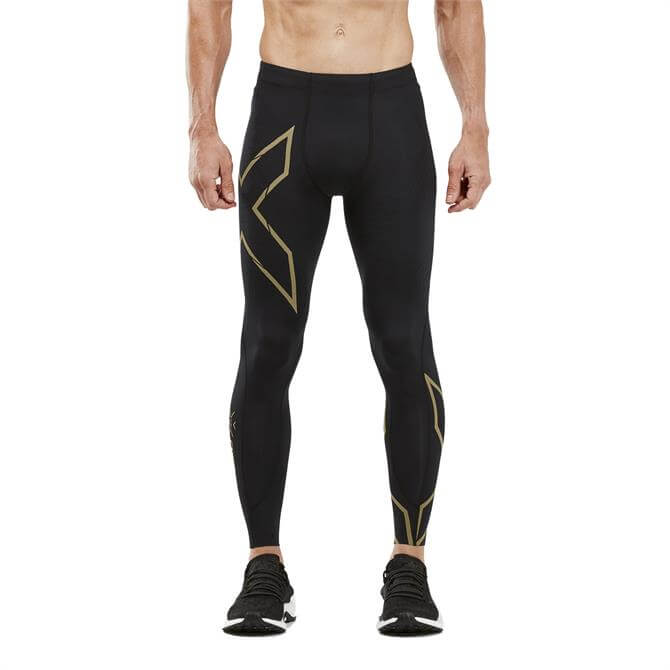 2XU Men's MCS Run Compression Tights - Black Gold Reflective